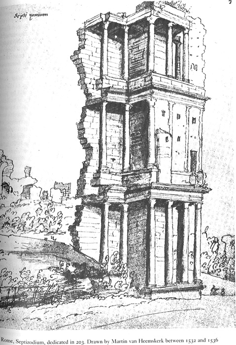 Renaissance image of the ruins of the Septizodium