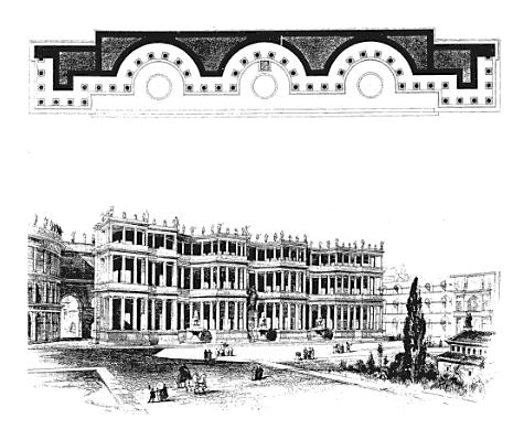 Reconstruction of the plan and elevation of the Septizodium in Rome