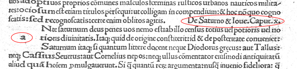 Extract from Tertullian incunabulum with chapter title and missing initial