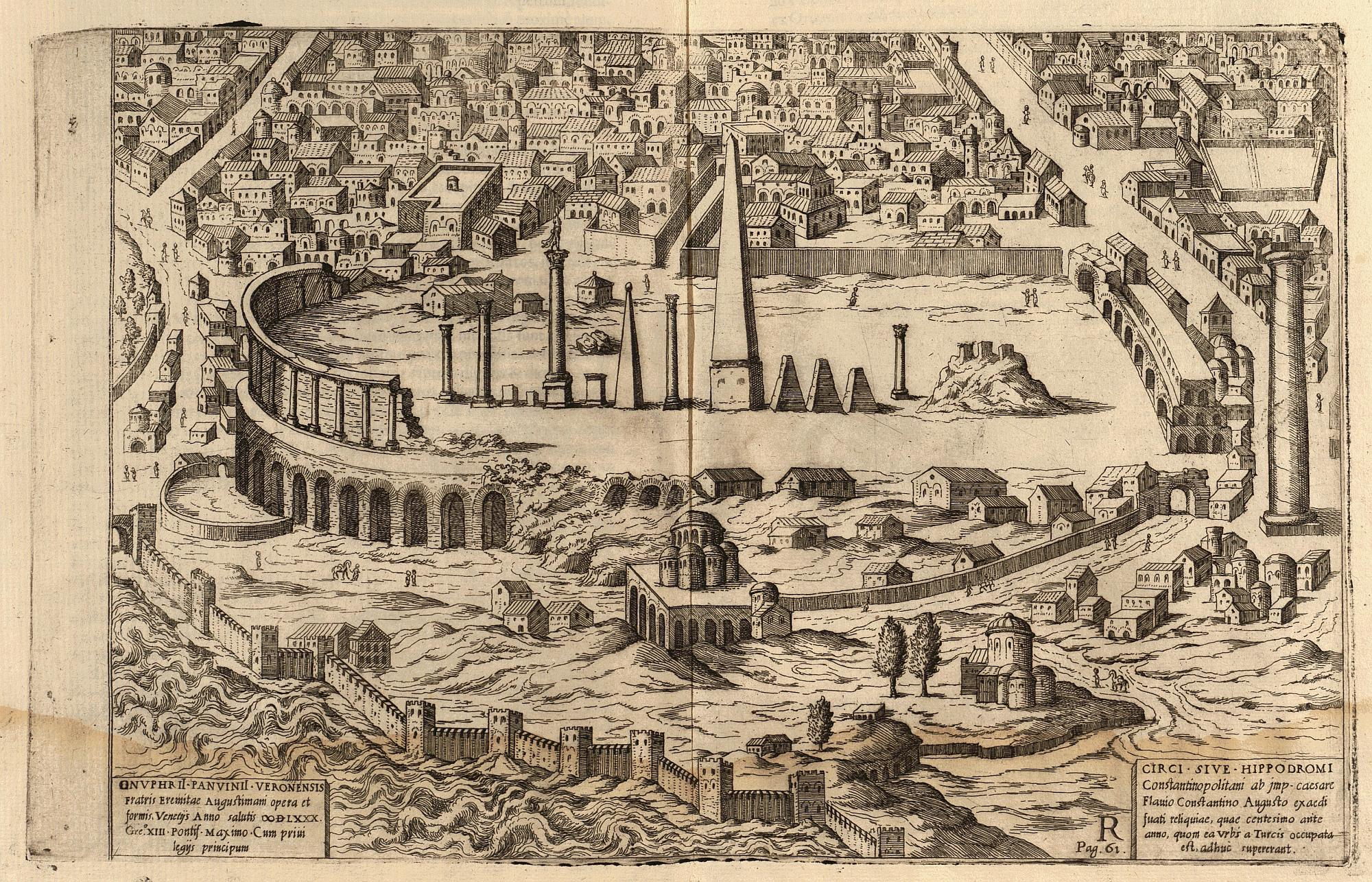 An old engraving of the Hippodrome at Constantinople, sabotaged by Google Boo...