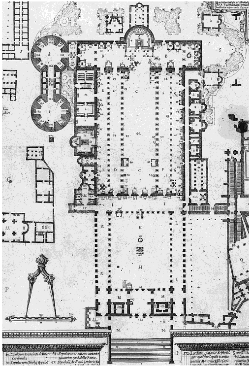 1590 plan by Alfarano of Old St Peters