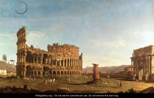 Canaletto - Colosseum and Arch of Constantine, Rome. 18th c.