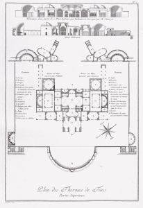 Ponce (1786).  Map of the Baths of Titus, after Piranesi.