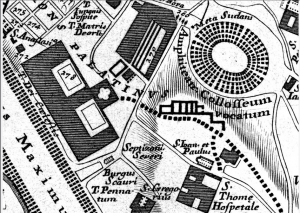 Bufalini (1551) - Location of Septizonium and Meta Sudans