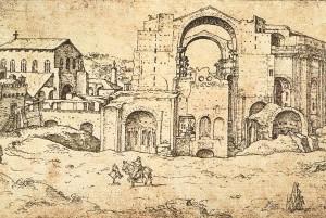 Van Heemskerk, Construction of basilica, 1536.