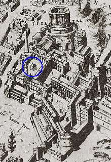 pianta di Roma di Etienne Du Perac (1577), particolare del Vaticano.
