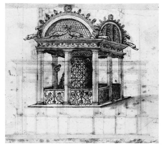Water installation with bronze pine-cone in the atrium of Old St Peter's, Rome.  Drawing by Cronaca (1457-1505).  Uffizi, Florence, 1572.