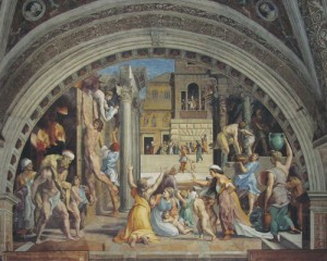 Raphael, The burning of the Borgo, detail.