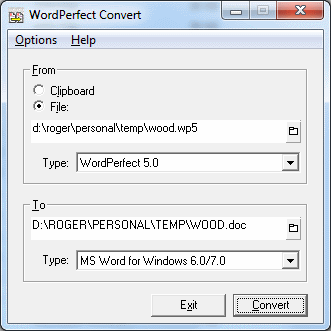 WordPerfect Convert Utility