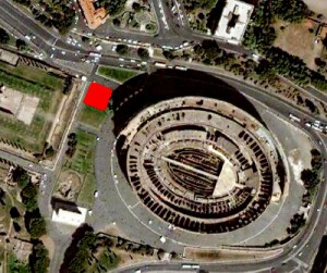 Location of the base of the Colossus in red.