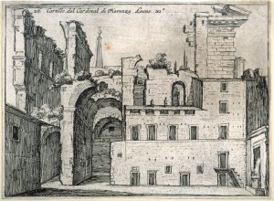 Mercati (1629). Aurelian's Temple of the Sun. Cartille [sic] del Cardinal di Fiorenza Leone XI (Courtyard of the Cardinal of Florence Leo XI), pl. 26 from the series Alcune vedute et prospettive di luoghi dishabitati di Roma (Some Views and Perspectives of the Uninhabited Places of Rome)