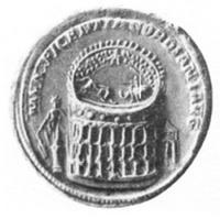 Medallion of Gordian III, ca. 240, depicting the Colosseum and Meta Sudans