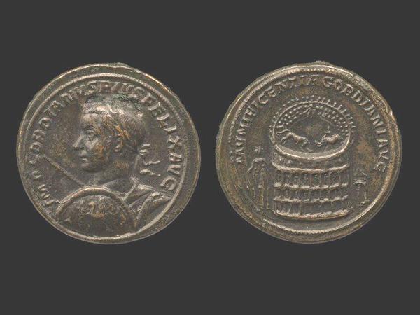 Medallion of Gordian III, ca. 240, depicting Meta Sudans and Colosseum