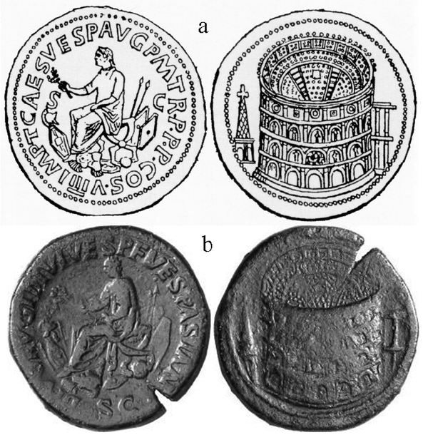 Meta Sudans on a sestertius of Titus