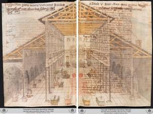 Grimaldi, Interior of Old St Peter's.  Barberini ms lat. 2733, f.104v-105r.