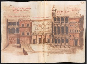 Ms Barberini lat. 2733. Grimaldi, Old St Peter's basilica, Rome. Facade