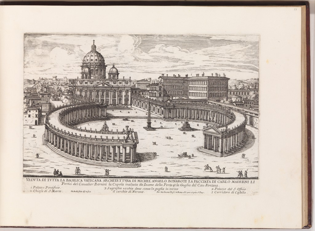 Falda, 1665-9.  New St Peter's with Vatican Rotunda.