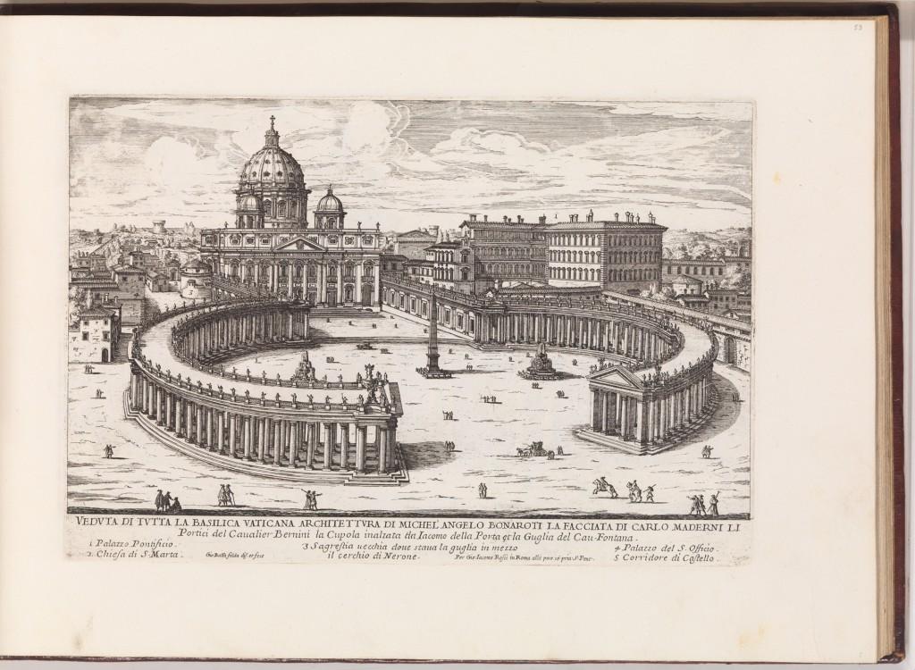 Falda, 1665-9.  New St Peter's with Vatican Rotunda.