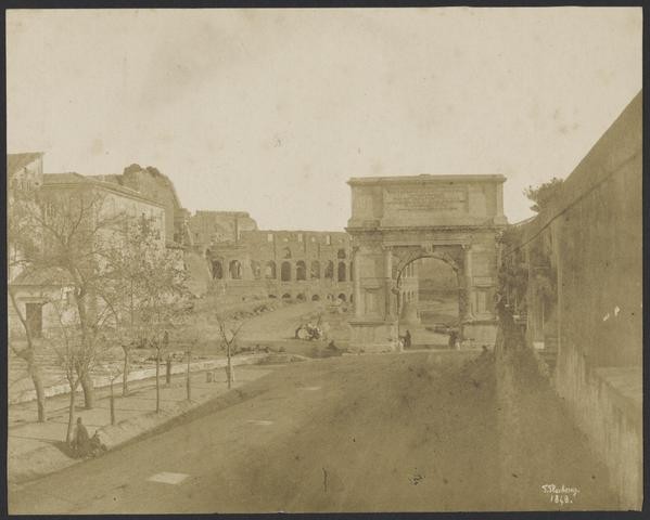 Arch of Titus, Meta Sudans, and Colosseum. Flacheron, 1848.