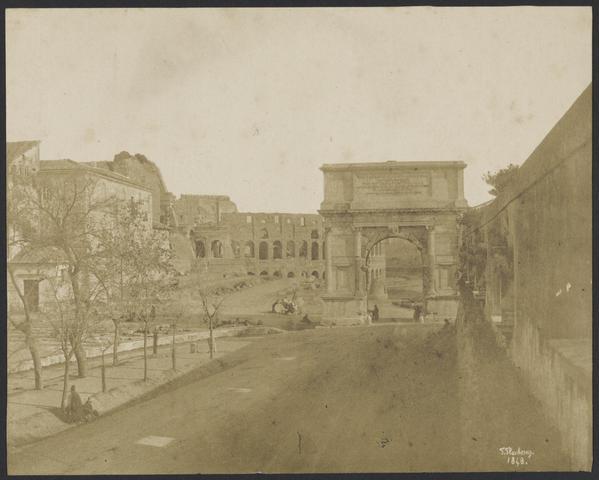 Arch of Titus, Meta Sudans, and Colosseum. Flacheron, 1848.