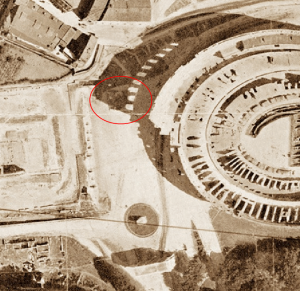 Zoomed area of the aerial photo of the base of the Colossus of Nero