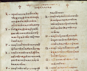 9th century table of contents for Arrian's Cynegetica