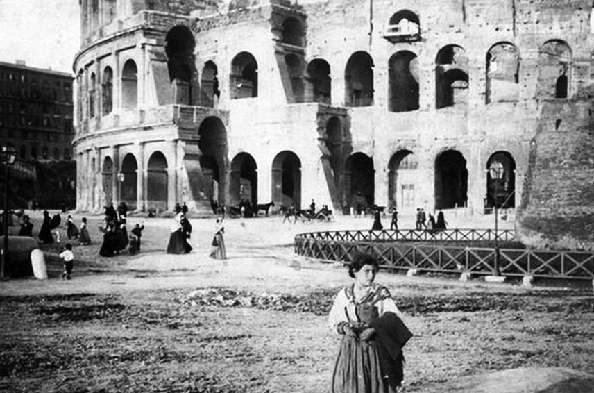 1890 Image of the Colosseum and Meta Sudans.  Via Roma Ieri Oggi