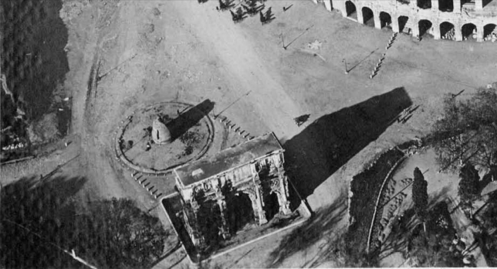 "Rome – Prof. Clementina Panella: Archaeological Investigations (2002-2008) - THE META SUDANS & THE N.E SLOPE OF THE PALATINE HILL. ""Roma vista dall' alto Collosseo."" # 8 (c. 1900) Alb. 25 / 2351 - Arch. Storico Capitolino Roma (2008)."