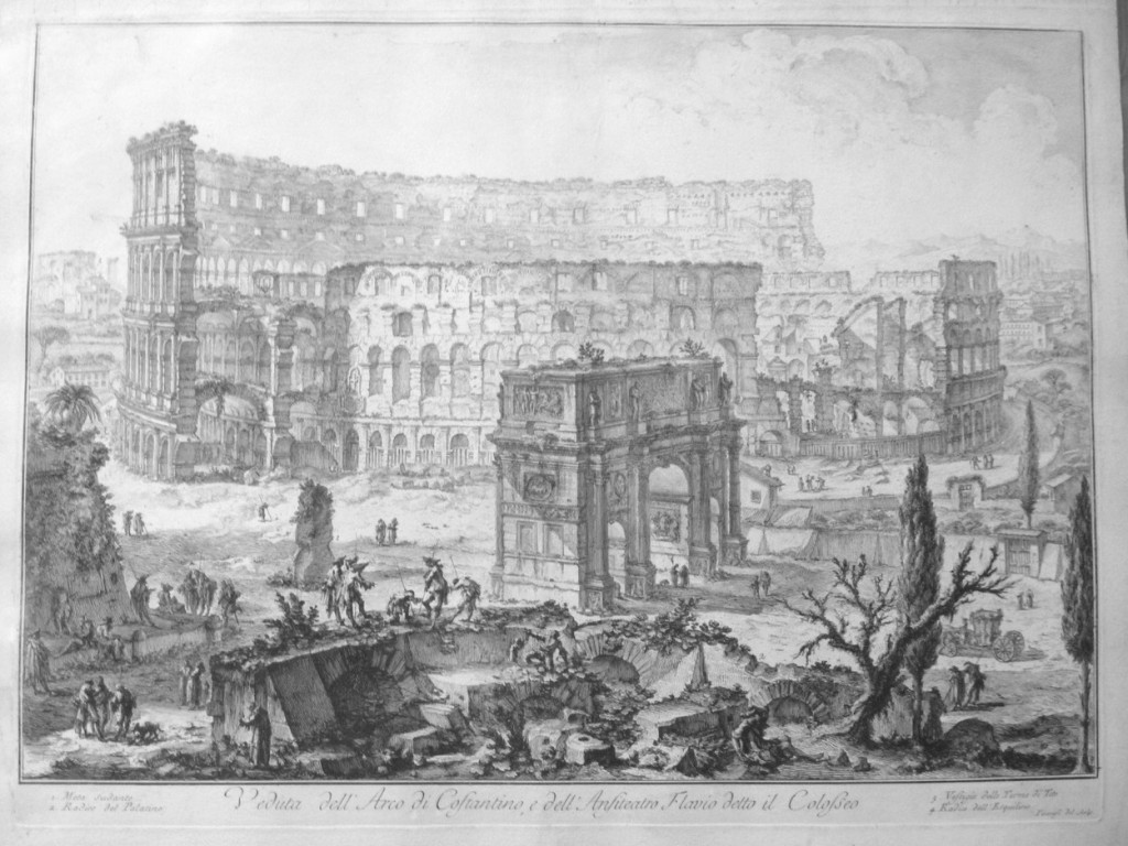 Piranesi, 1760. Arch of Constantine, Colosseum, and Meta Sudans