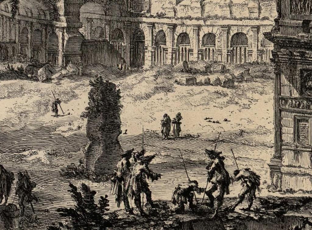 """Piranesi, """"Veduta dell'Arco di Costantino, e dell'Anfiteatro Flavio detto il Colosseo"""".  Detail showing Meta Sudans."""