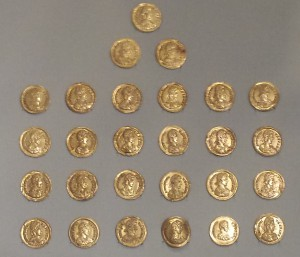 Gold solidi, mainly of Honorius. Norwich Castle Museum