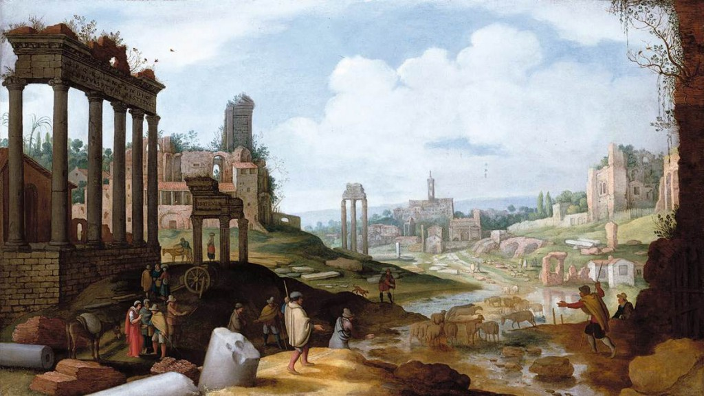 Temple of Sol Invictus / Temple of Serapis, Rome. Willem van Nieulandt the Younger.