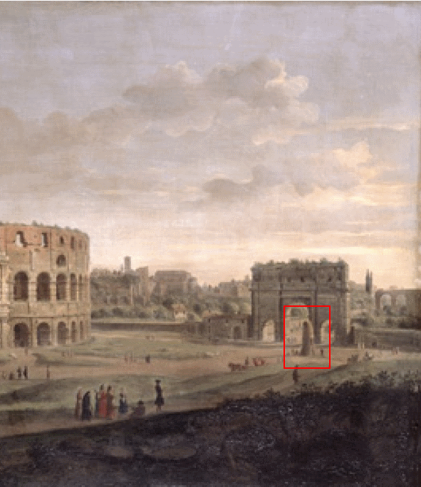 Gaspar van Wittell, Colosseum - extract view of the Meta Sudans