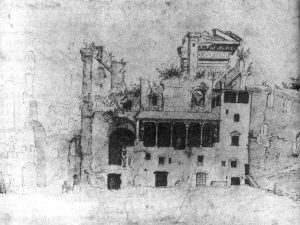 """Circle of Maarten van Heemskerck, The Colonna """"loggia"""" at the Quirinal, 1534 - 1536, drawing, Düsseldorf, Kunstmuseum, Kupferstich- Kabinett. The Colonna residence grew from previous remains, which included the ancient ruins identifiable with a Roman temple dedicated to the Sun or Serapis on the slopes of the Quirinal Hill."""